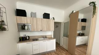 Byt 1+kk, který se nachází ve 2. patře zrekonstruovaného secesního domu s výtahem, v ul. Slavíkova.